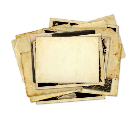 album cover: Pile of old photos and letters on white background isolated