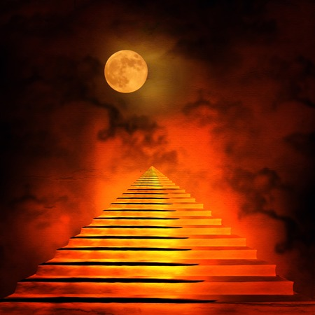 god in heaven: Staircase leading to heaven or hell. Light at the End of the Tunnel
