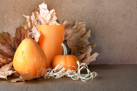 dried gourd: Pile of pumpkins with autumn foliage on abstract background