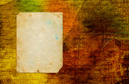 handwrite: Grunge abstract paper background with old photo and handwrite text for design