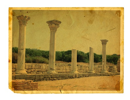 Old vintage card with Chersonesos ruins isolated on a white background. Crimea photo