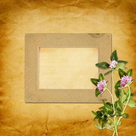 Old vintage frame for photos and bouquet of flowers of pink clover on shabby paper background photo