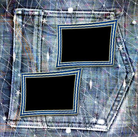 Old vintage frame on shabby jeans background