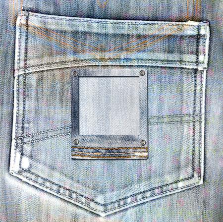 scrap metal: Vintage postcard with slides on old jeans background