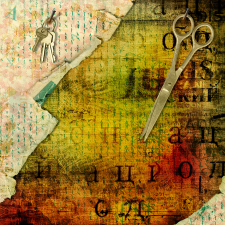 key words art: Abstract beautiful background in the style of mixed media with alienated paper Stock Photo