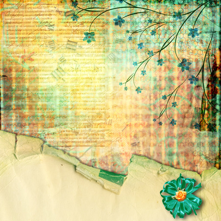 Abstract beautiful background in the style of mixed media with floral ornament  photo