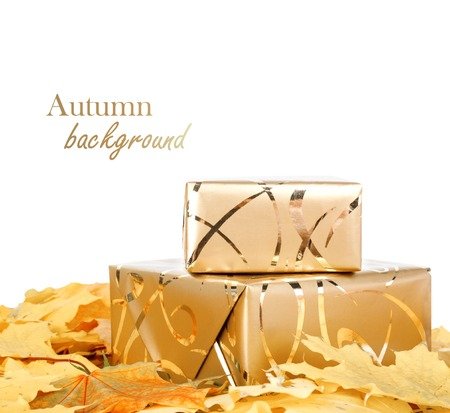 Gift box in gold wrapping paper with autumn leaves on white isolated background photo