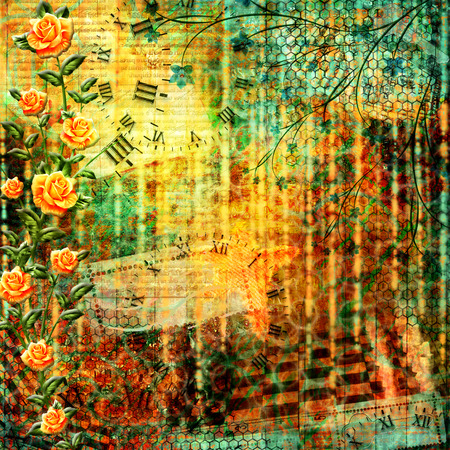 Abstract beautiful background in the style of mixed media with floral ornament with roses photo