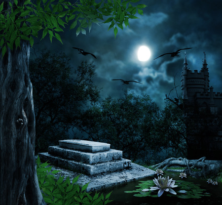 horror castle: Tombstone in celebration of Halloween on the background of the moonlit night