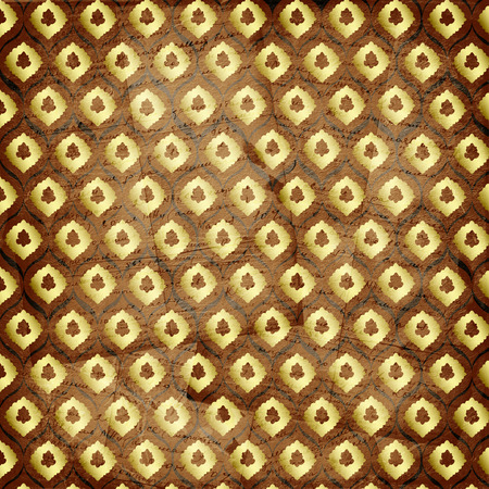 ornamente: Grunge brown background with ancient ornament. Vintage textile