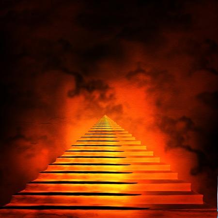 天国か地獄への階段。トンネルの終わりに光 写真素材