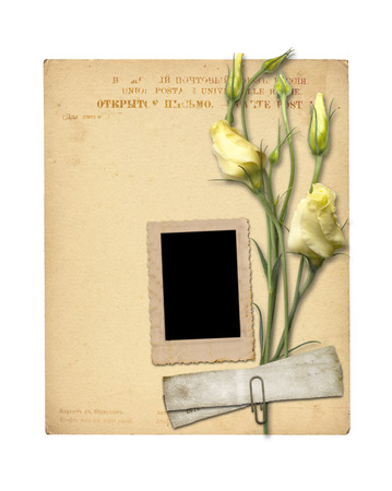 Set of old archival papers and vintage postcard with bouquet of beautiful roses isolated on white background Stock Photo