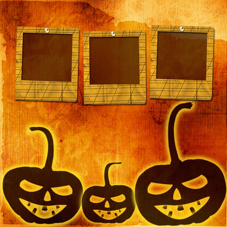 Festive pumpkin Halloween Day with  slides on the abstract paper background