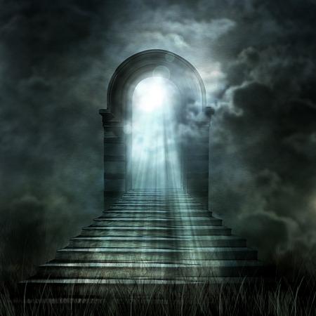 계단 천국 또는 지옥으로 이어지는. 터널의 끝에 빛