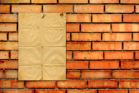 archival: Set of old archival papers and vintage postcard on the brick background