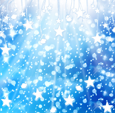 Christmas snowy background with blue and white stars photo