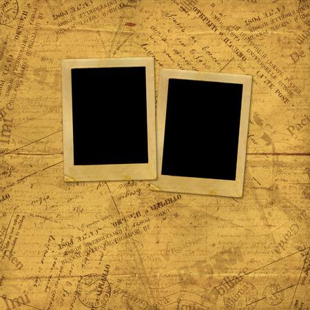 telegrama: Marcos de fotos en sobres de papel viejo y letras Foto de archivo