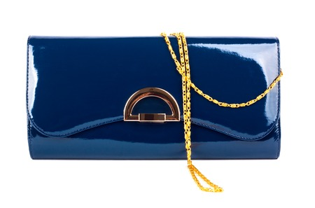 lacquered: Elegant ladies blue handbag isolated on white background Stock Photo