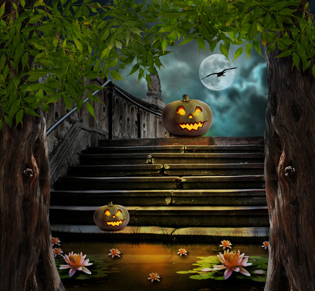 Halloween pumpkins in yard of of old stone staircase night in bright moonlight photo