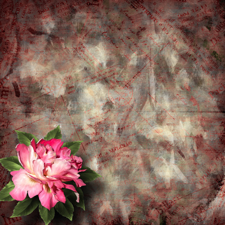 Beautiful hand drawn rose branch and sheet of paper on abstract background photo