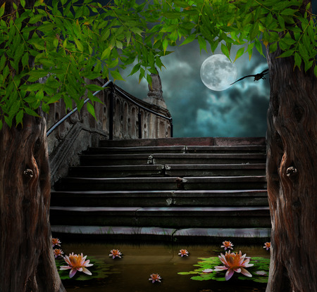Old stone staircase in celebration of Halloween on background of moonlit night photo