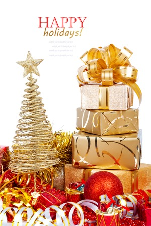lacet: Beautiful Gift box in gold wrapping paper isolated on a white background Stock Photo