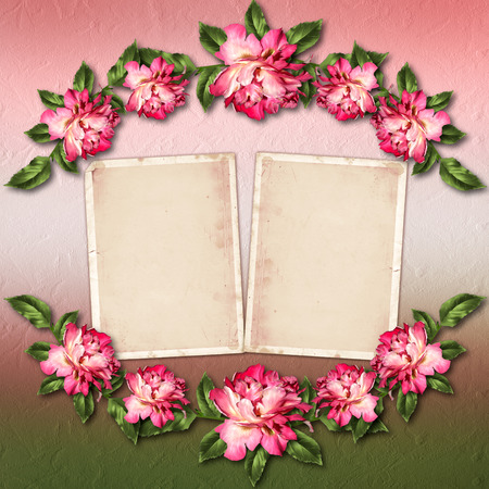 Beautiful painted rose with frames for congratulations or\ invitation on abstract background