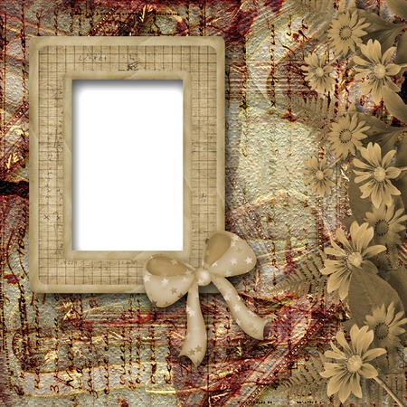 Herbarium of flowers and leaves on the floral background with frame Stock Photo