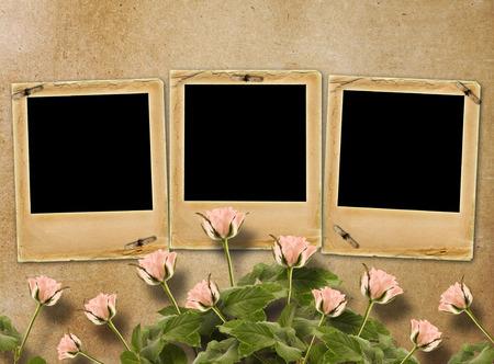 anniversario matrimonio: Bouquet di splendide rose con scivolo per invito o congratulazioni su carta astratto