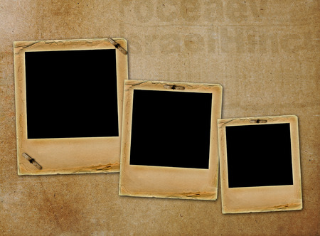 Old paper slides for photos on rusty abstract background Stock Photo