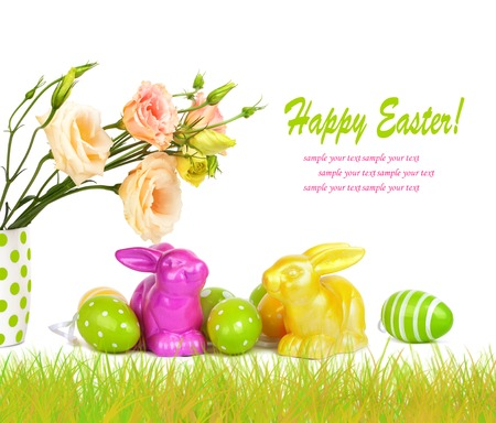 easteregg: Easter eggs, bunnies and fun bouquet of flowers isolated on white background