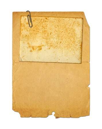 archival: Set of old archival papers and vintage postcard isolated on white background Stock Photo