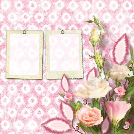 Bouquet of beautiful pink roses with the invitation or congratulation on the ornamental paper Stock Photo