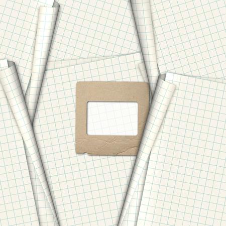 slides: Old paper slides for photos on notebook sheet