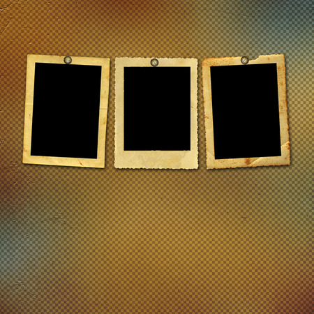 alienated: Old vintage paper with grunge frames for photos Stock Photo