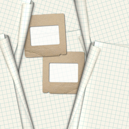 old notebook: Old paper slides for photos on notebook sheet