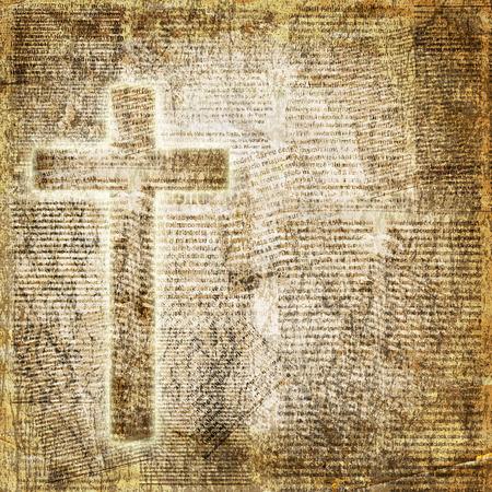 Gloeiende heilig kruis op abstracte papier achtergrond Stockfoto - 36847541