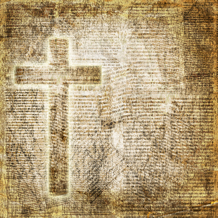 Glowing holy cross on abstract paper background Stock Photo