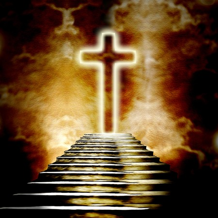 heaven: Glowing holy cross  and staircase leading to heaven or hell Stock Photo
