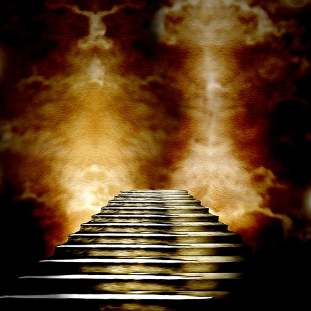 heaven: Staircase leading to heaven or hell. Light at the End of the Tunnel