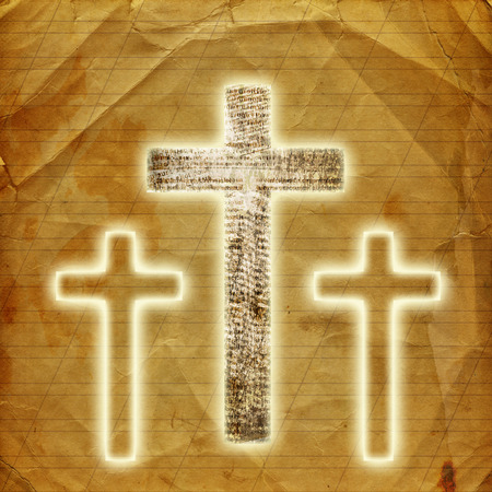 Glowing holy cross on abstract paper background photo