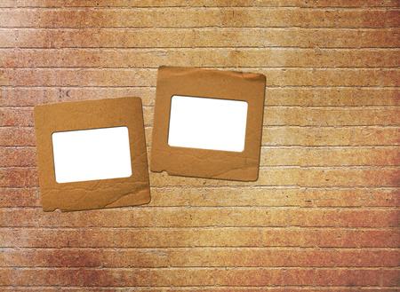 slides: Old paper slides for photos on rusty abstract background Stock Photo