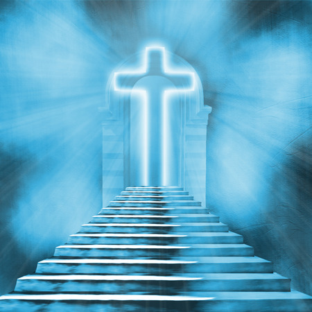 stairway to heaven: Glowing holy cross and staircase leading to heaven or hell Stock Photo