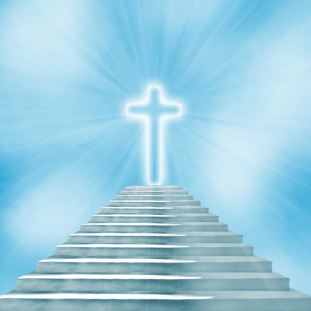 high end: Glowing holy cross and staircase leading to heaven or hell Stock Photo