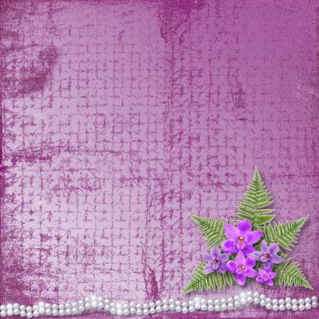 Carte De Voeux Avec Belle Orchidee De Branche Et De Perles Pour Un