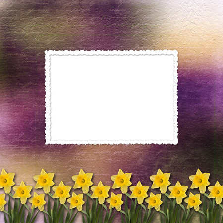 the inscription: Card for invitation or congratulation with bunch of flower Stock Photo