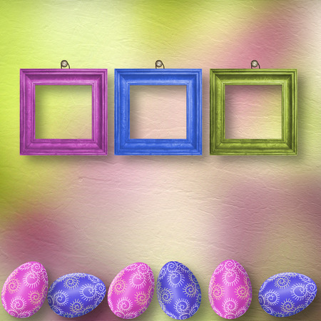 ovum: Drawing eggs  with wooden frame on pastel background Stock Photo