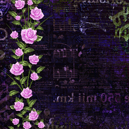 mixed media: Abstract beautiful background in the style of mixed media with floral ornament, words and  figures Stock Photo