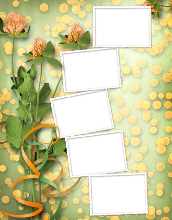 grunge paper for congratulation with bunch of clover photo