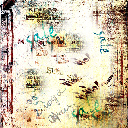 alienated: Grunge abstract background with old torn posters Stock Photo